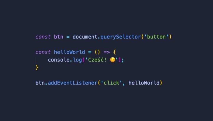 Kod JavaScript przedstawiający addEventListenera